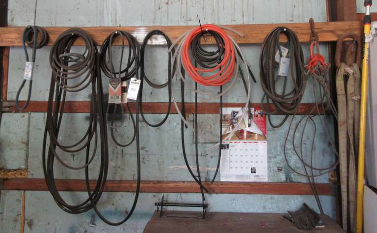 Group of Belts, Tubing, Mr. Long Arm, Four-Point Lifting Cable, and Four-Point Lifting Strap