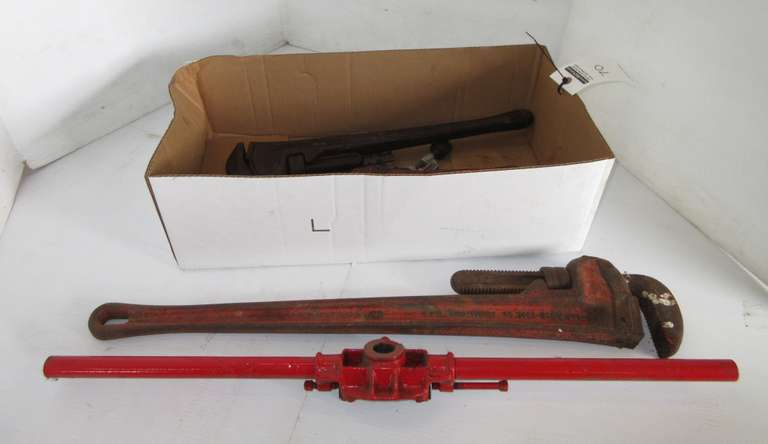 "(4) Pipe Wrenches, Longest- 24""; (2) Pipe Threaders; Tubing Cutters; Flaring Tool"