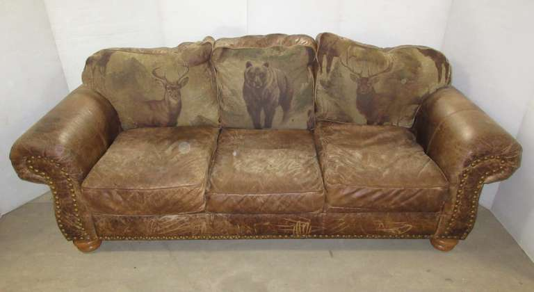Leather Sofa, Purchased at Fenton Home Furnishing, Distressed Leather with Elk, Deer, and Bear Embroidered