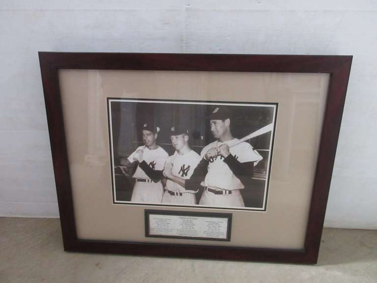 """Legends of the Game"" Joe DiMaggio, Mickey Mantle and Ted Williams Framed Photo Print in a Shadow Box Wood Frame"