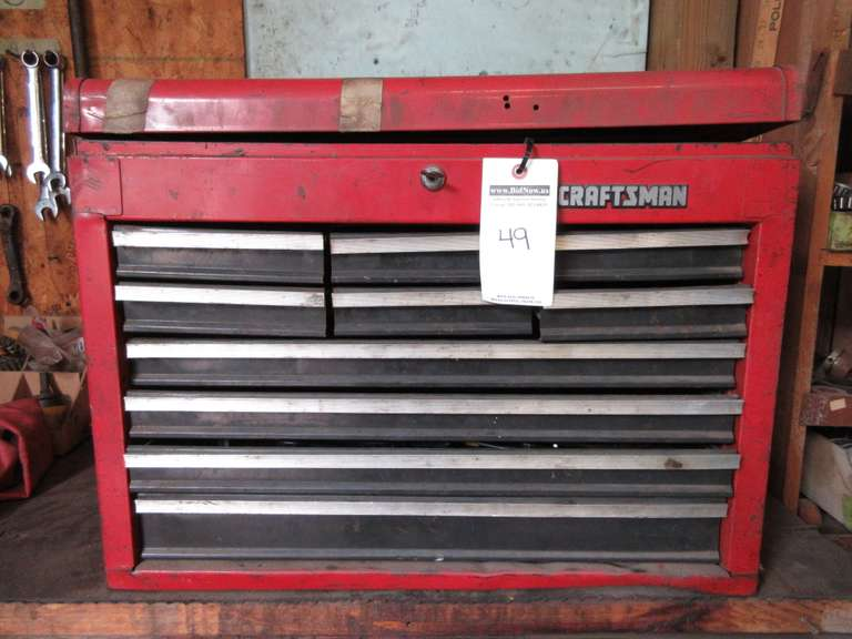 Craftsman Tool Box with Contents, Including: Eklind T-Handle Hex Key Wrenches, Drill Chucks, Ratchets, Sockets, Bolt Cutters, and Lots of Misc. Hand Tools