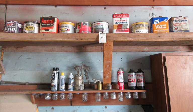 Contents of (2) Shelves, Including: Water Seal, Paint, Brake Fluid, Paint Gun, Small Parts in Jars, and More