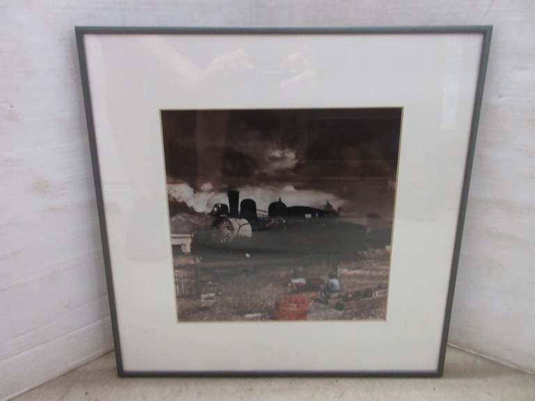 Old Steam Engine with Little Boy Sitting with Lionel Trains Signed Picture
