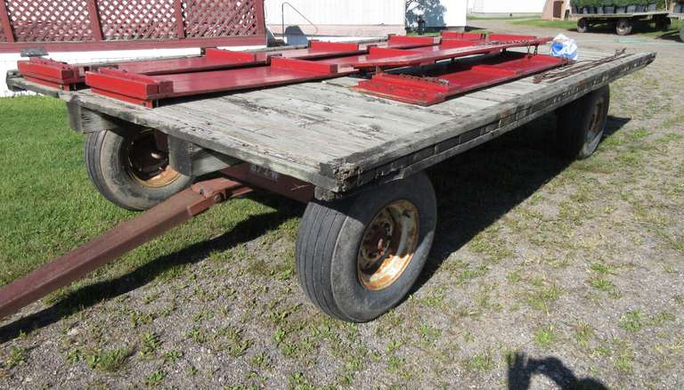 "EZ Trail ""872-W"" 15 1/2' x 8' Heavy Duty Flat Rock Wagon with Sideboards, Extendable Tongue, Tires Checked but Hold Air"