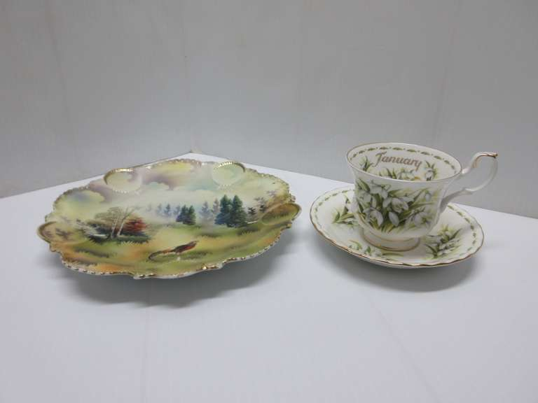 R.S. Prussia Plate and a Royal Albert Teacup with Saucer