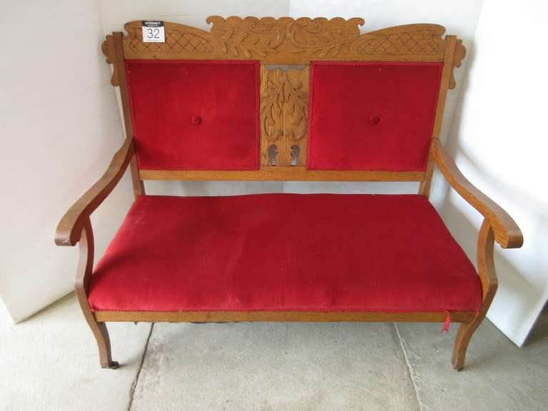 Antique Red Velvet Bench