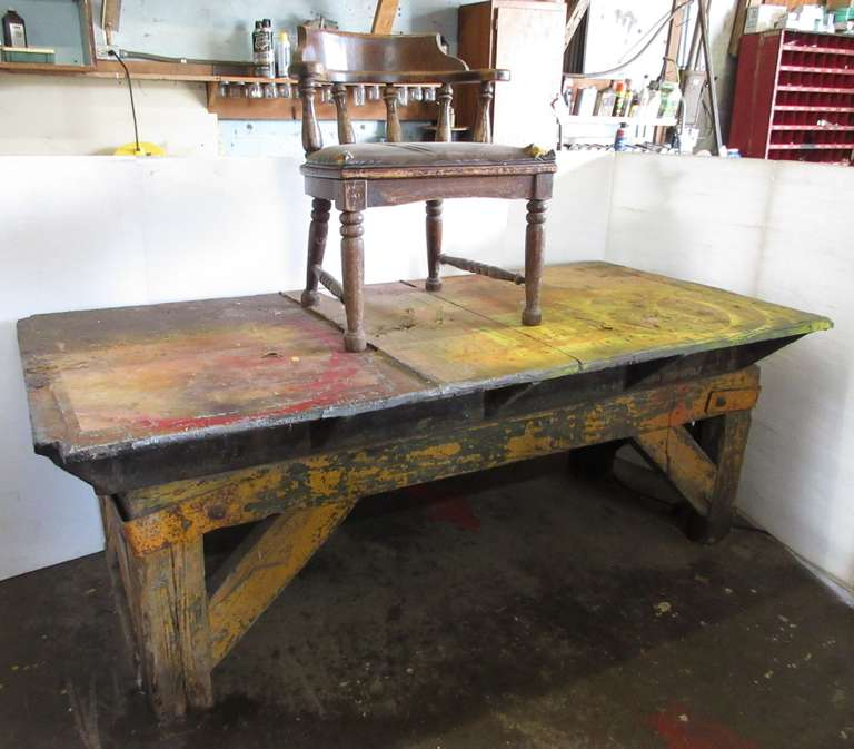 Wood Framed Shop Table with Cast Iron Top, Has Chunks Taken Out on Corners, Comes with Old Chair