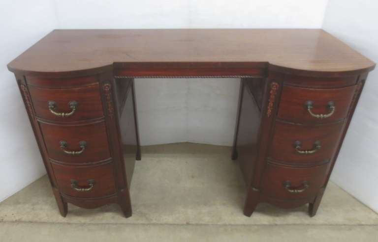 Antique Desk/Ladies Vanity Dresser with Six Curved Drawers and Original Hardware