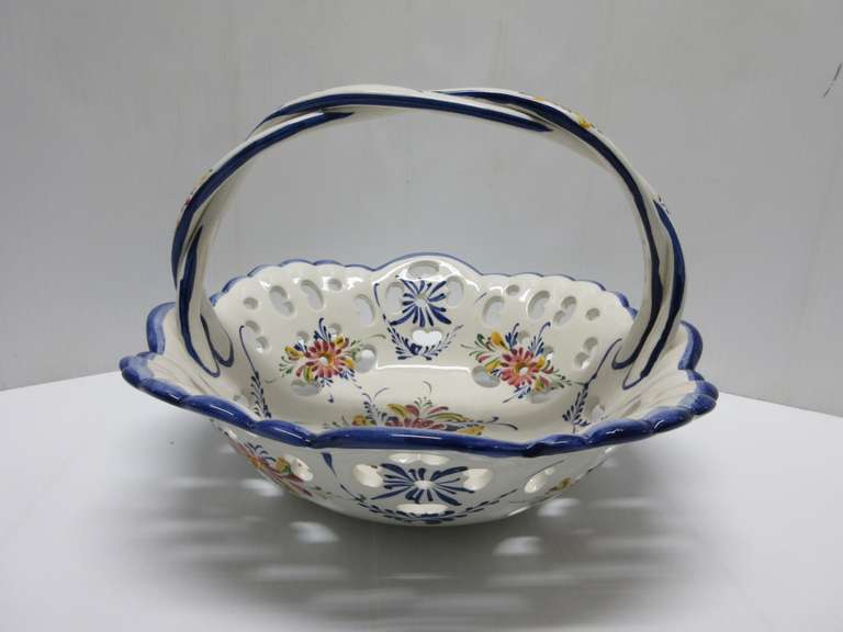 Hand Painted Ceramic Basket with Handle, Made in Portugal