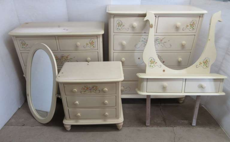 "Three-Piece Bedroom Set, Includes: Two Dressers, Long- 40""W x 19""D x 38""H,  Tall- 40""W x 19""D x 46""H, Nightstand- 25""W x 17""D x 26""H"