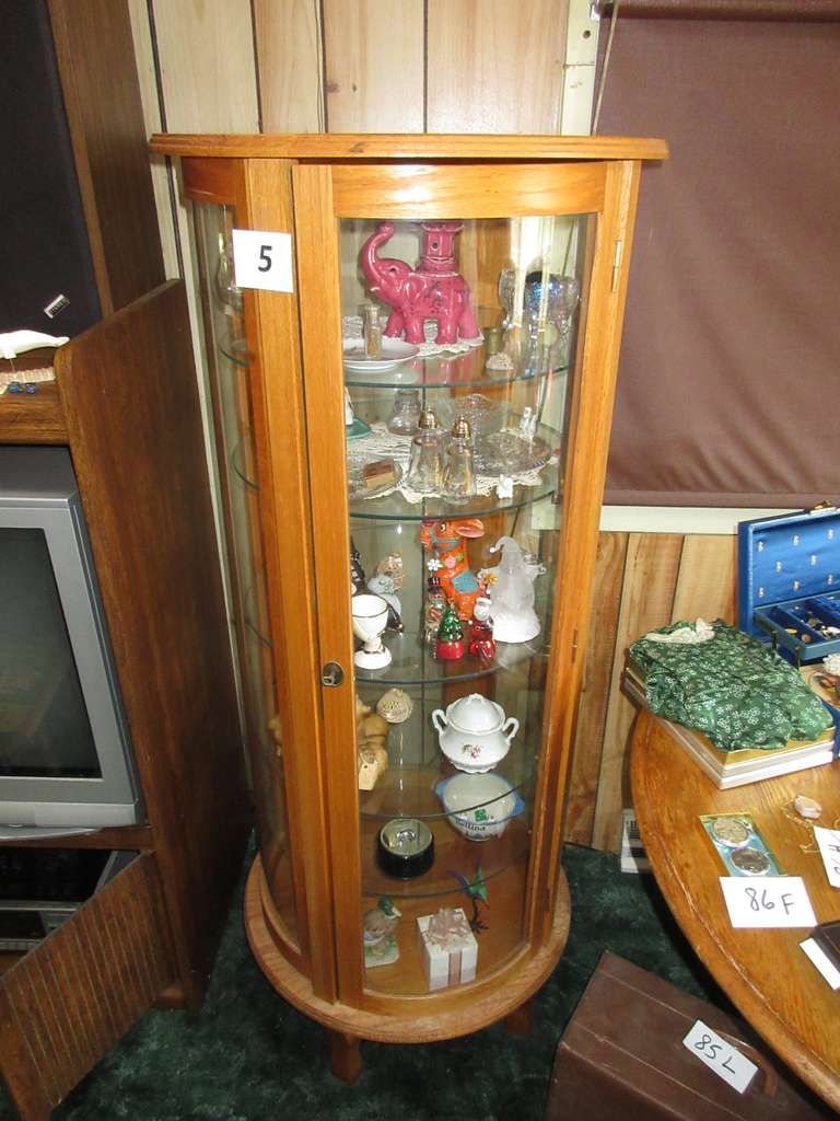 "Reproduction Round Oak Curio Cabinet with Contents, 23""Dia x 57""H"