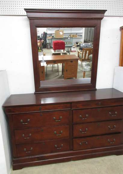 Dark Cherry Wood Long Eight-Drawer Bedroom Dresser with Matching Mirror, Has Nice Hardware and Two Hidden Secret Upper Drawers, Matches Lot No. 3 and 4