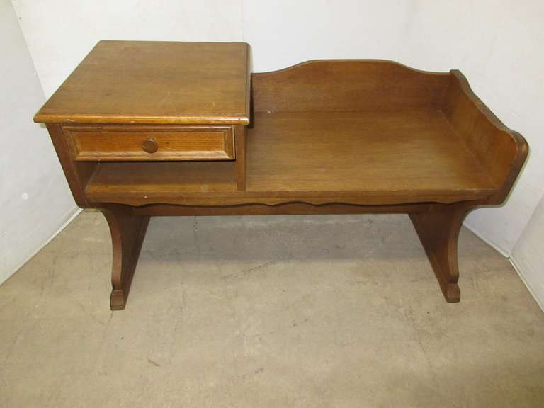 Older Oak Telephone Seat with Drawer
