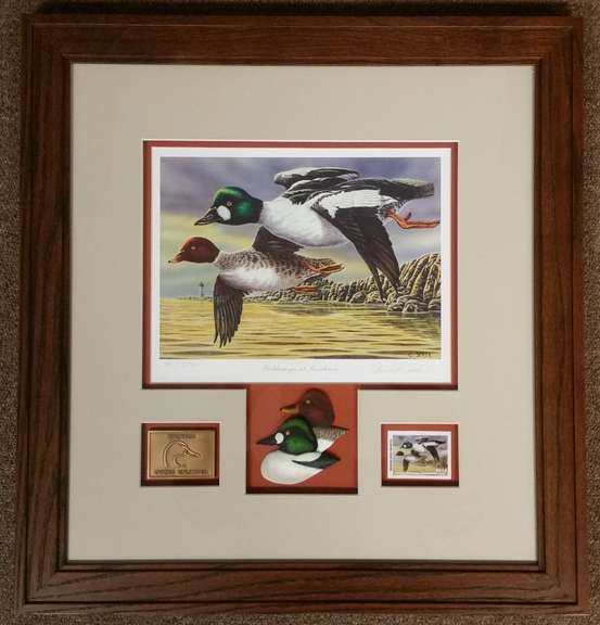 "Framed and Matted Ducks Unlimited Print of Christopher Smith's ""Goldeneyes at Sundown"" Signed and Numbered 49 of 2750"