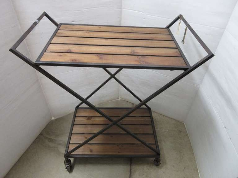 Wood Patio Table on Rollers, or Could be Used for Plant Stand