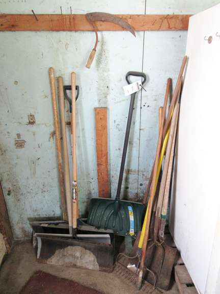 Group of Long Handled Tools, Including: Snow Shovels, Square Point Shovels, and More