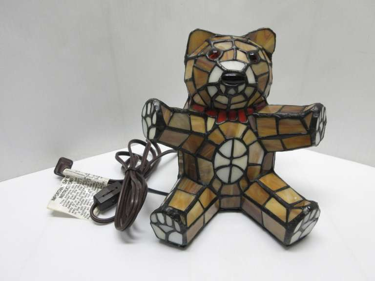 Stained Glass Teddy Bear Lamp, Great for Night Light, 15W Bulb