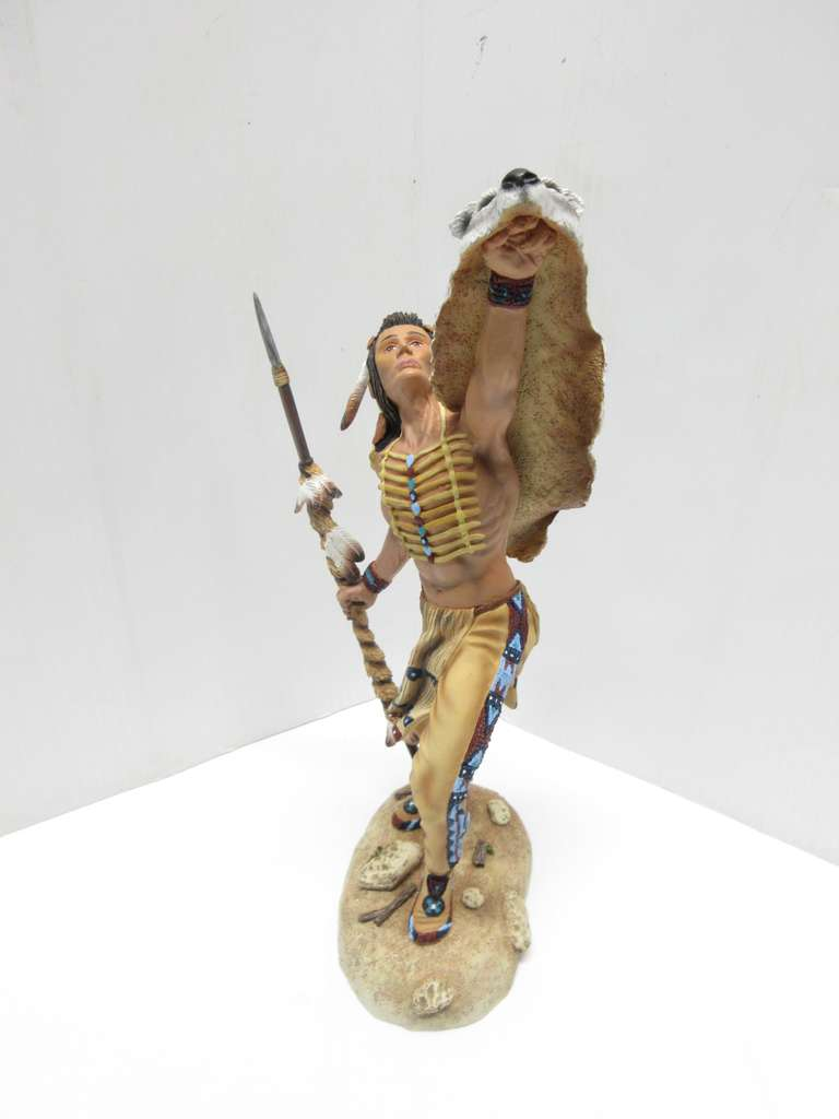 1996 Indian Statue, Hamilton Collection, Talisman of the Wolf