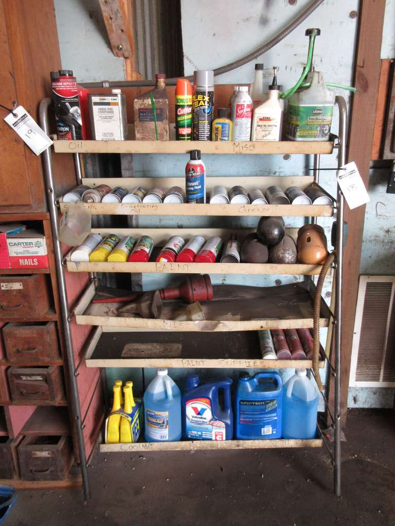 Metal Rack with Assortment of Paints, Lubrication Spray and Auto Fluids