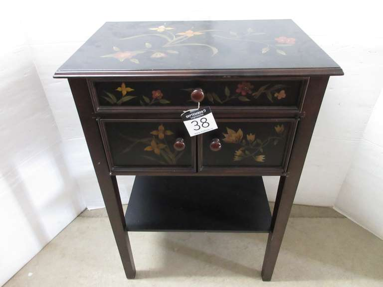Ornate Accent Table with Flower Design, Has One Drawer and Two Doors