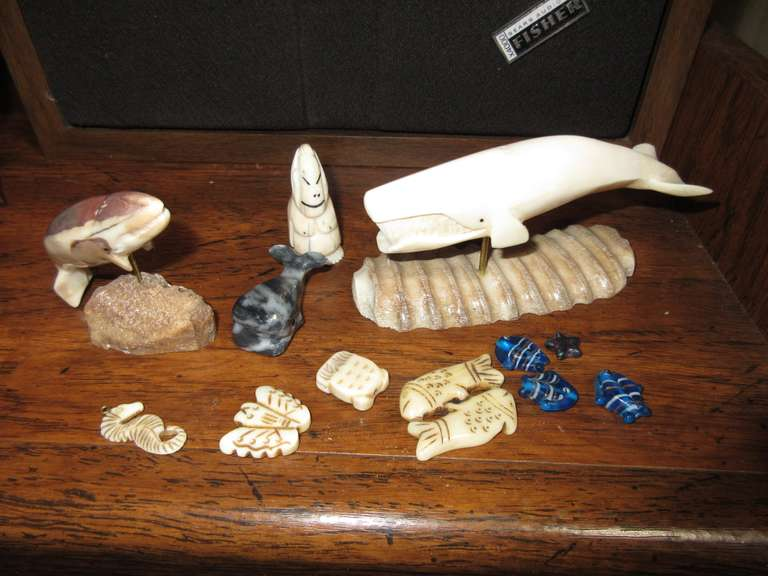 "Group of Carved Ivory or Bone Whales, Etc. Whale is 4 3/4"" Long"