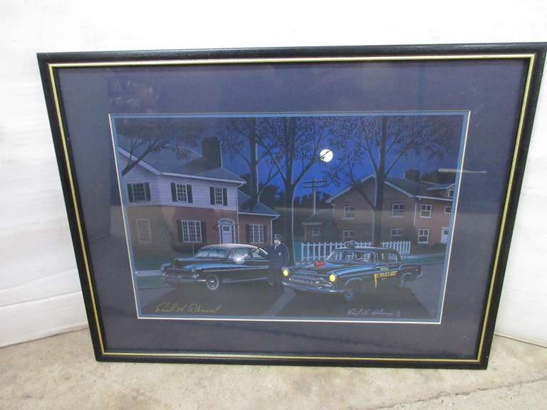 "Original Artwork 1950s Era ""Detroit Police"" at Night by Detroit Artist Paul H. Adams, Was Created in 2003 and is Hand Signed"