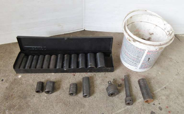 "Pittsburgh Deep Well 1/2"" Drive Impact Sockets in Metal Case and Small Bucket of Misc. Impact Sockets"