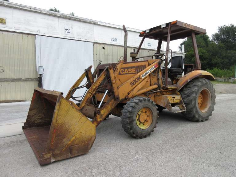 "We are Reserving the Use of Loader Until the End of Checkout - Case 580K Construction King 4WD Loader Tractor, Large 82""W Bucket, Rear Ballast Weights, Rear 17.5 17.5L-24 Tires, Front 12-16.5 Tires, Good Running Tractor"