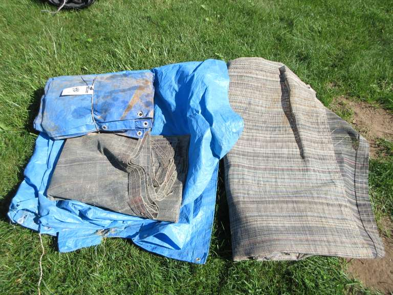 Group of (4) Tarps, Assorted Material and Sizes