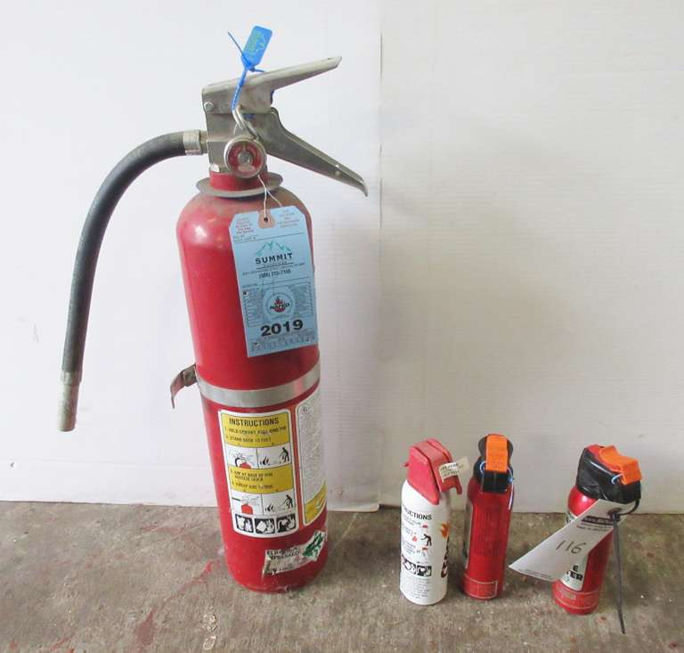 Large Fire Extinguisher, Still Certified; (3) Small Fire Extinguishers