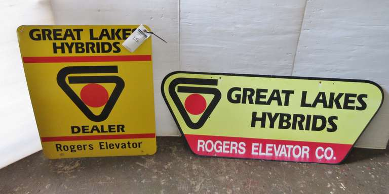 "(2) Tin Advertising Signs: ""Rogers Elevator"" and ""Great Lakes Hybrids"", 24"" x 30"" and 19"" x 47"""