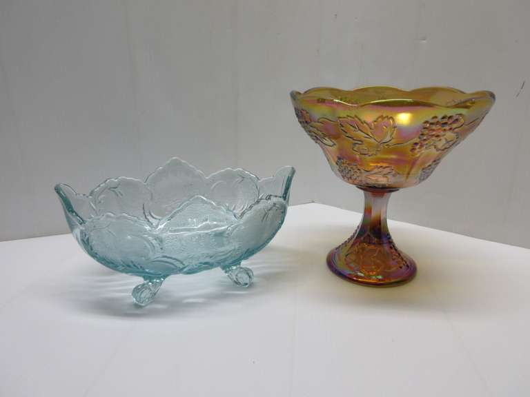 "(2) Older Pieces: 1- Gold Carnival on Stand, Grape Pattern, 8 1/2""Dia x 8 1/2""H; 1- Light Blue Dish on Four Legs, 10 1/2""W x 7""D x 5""H, Both Good, No Chips or Breaks"