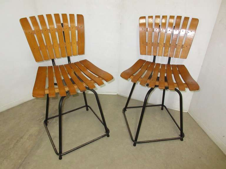 Vintage Mid-Century Wood Slat Dining Chairs
