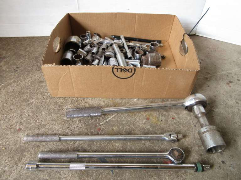 "Large Group of Ratchets and Sockets, Assorted Sizes and Brands, Some 3/4"" Drive"
