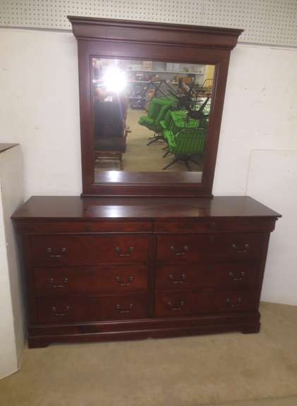 Dark Cherry Wood Eight-Drawer Bedroom Dresser with Matching Mirror, Two Hidden Secret Upper Drawers