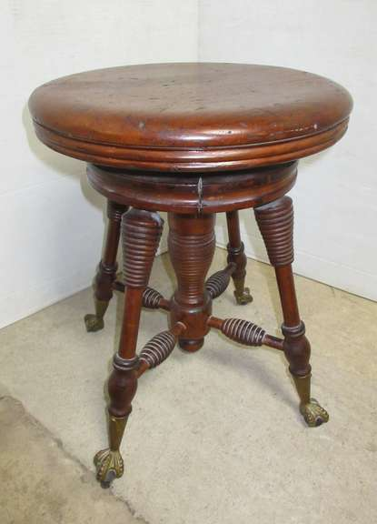 Antique Claw Foot Swivel Stool