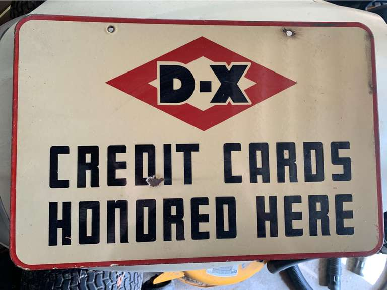 "Antique D-X Porcelain 2-sided Advertising Sign JUST FOUND!!  18"" x 12"".  Couple chips but Good Overall Condition"
