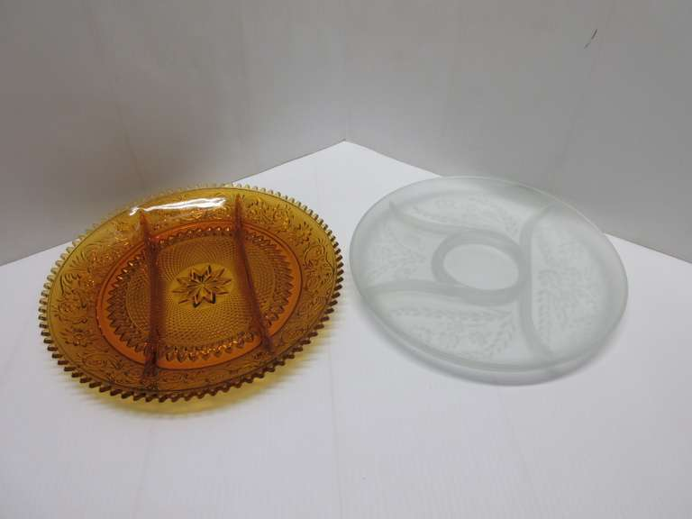 "Amber Tiara Glass Relish Tray, 12""Dia, No Damage; Frosted Relish Tray, Wheat Flowers Design on Bottom, 11 1/2""W, No Damage"
