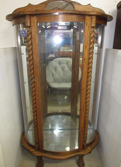 Lighted Curved Glass China Cabinet with Glass Shelves
