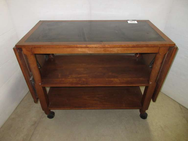 Antique Serving Table on Casters with Two Fold Up Sides