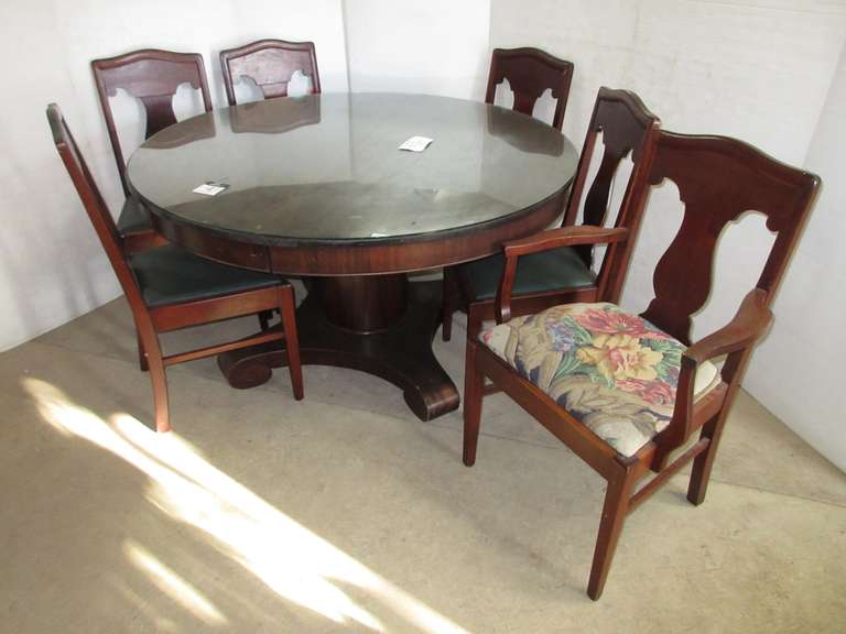 Solid Wood Dining Table with (6) Chairs and Table Glass, Has Casters, No Hardware for Base to Table, Matches Lot Nos. 5 and 6