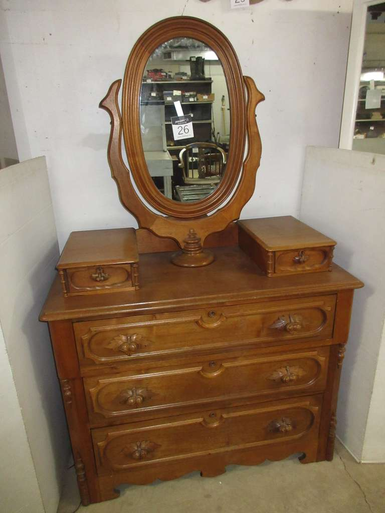 Antique Dresser with Mirror, Includes Casters in Drawer