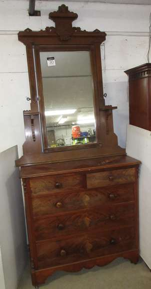 Wood Dresser with Five Drawers and Mirror