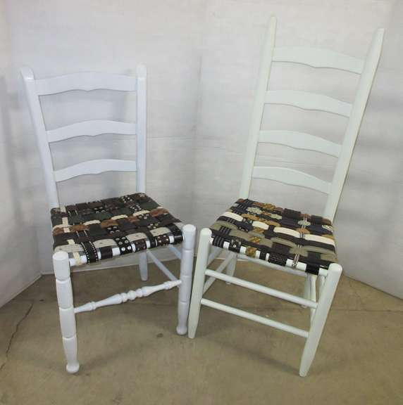Set of (2) White Chairs with Belt Seats, Chairs are Two Different Styles, Matches Lot No. 43