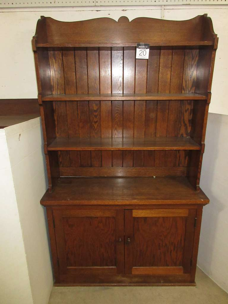 Two-Piece Oak Hutch