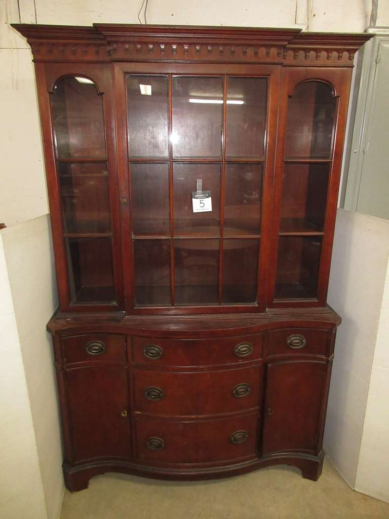 Solid Wood China Cabinet with Shelves and Storage, Matches Lot No. 4 and 6