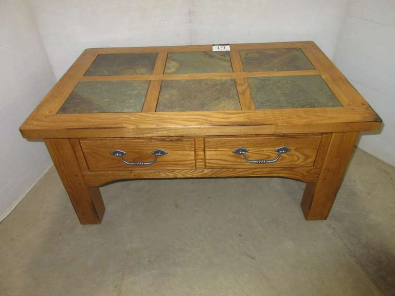 Large Coffee Table with Slate Top, and Two Drawers, Solid Oak Construction, Matches Lot No. 15