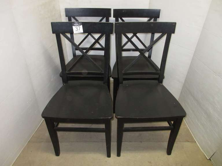 (4) Black Wooden Chairs