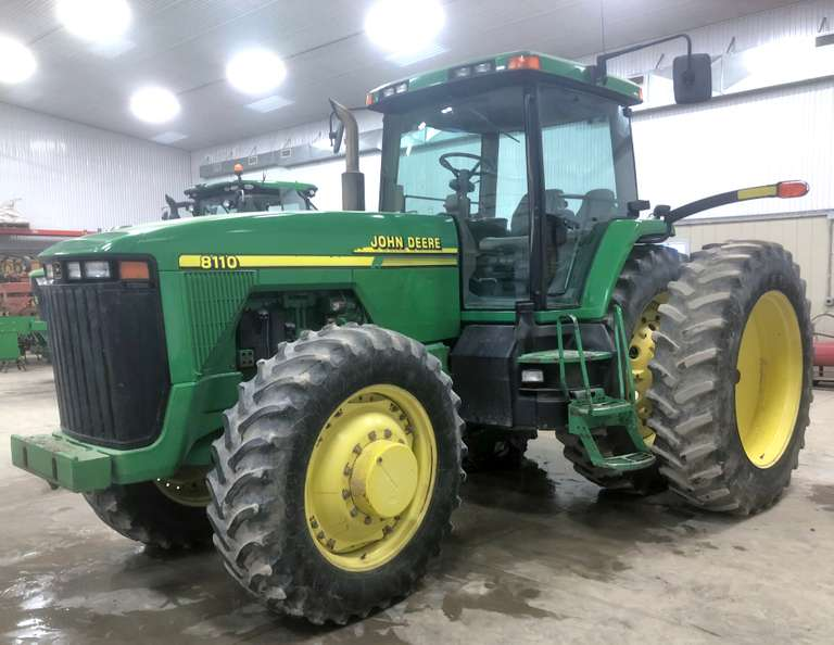 2001 John Deere 8110 MFWD Tractor, (9400 Hours), Still in Use, 16 Forward and 4 Reverse, Powershift Transmission, Differential Lock, 4-SCV Outlets, Quick Coupler, Front Weight Bracket (No Weights), Firestone 380/85R34 Fronts, Firestone 480/80R46 Rears with Duals, Service Records Available