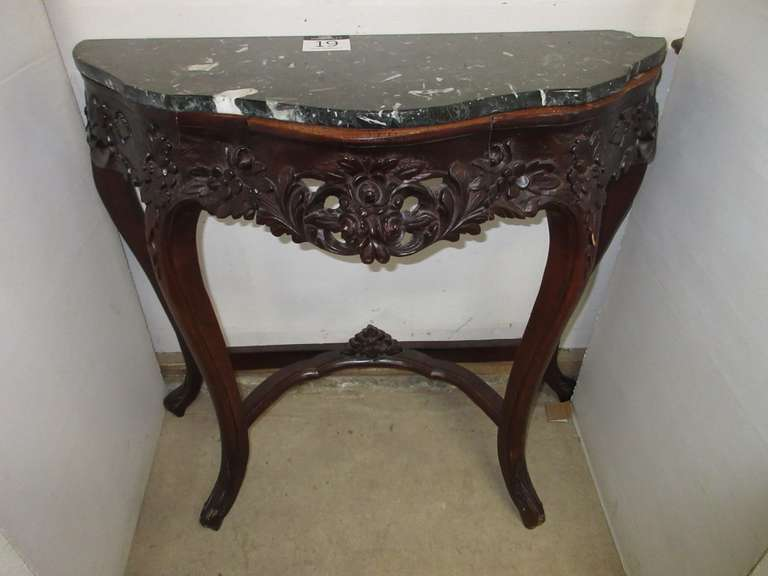 Ornate Wood Carved Half Table with Drawer